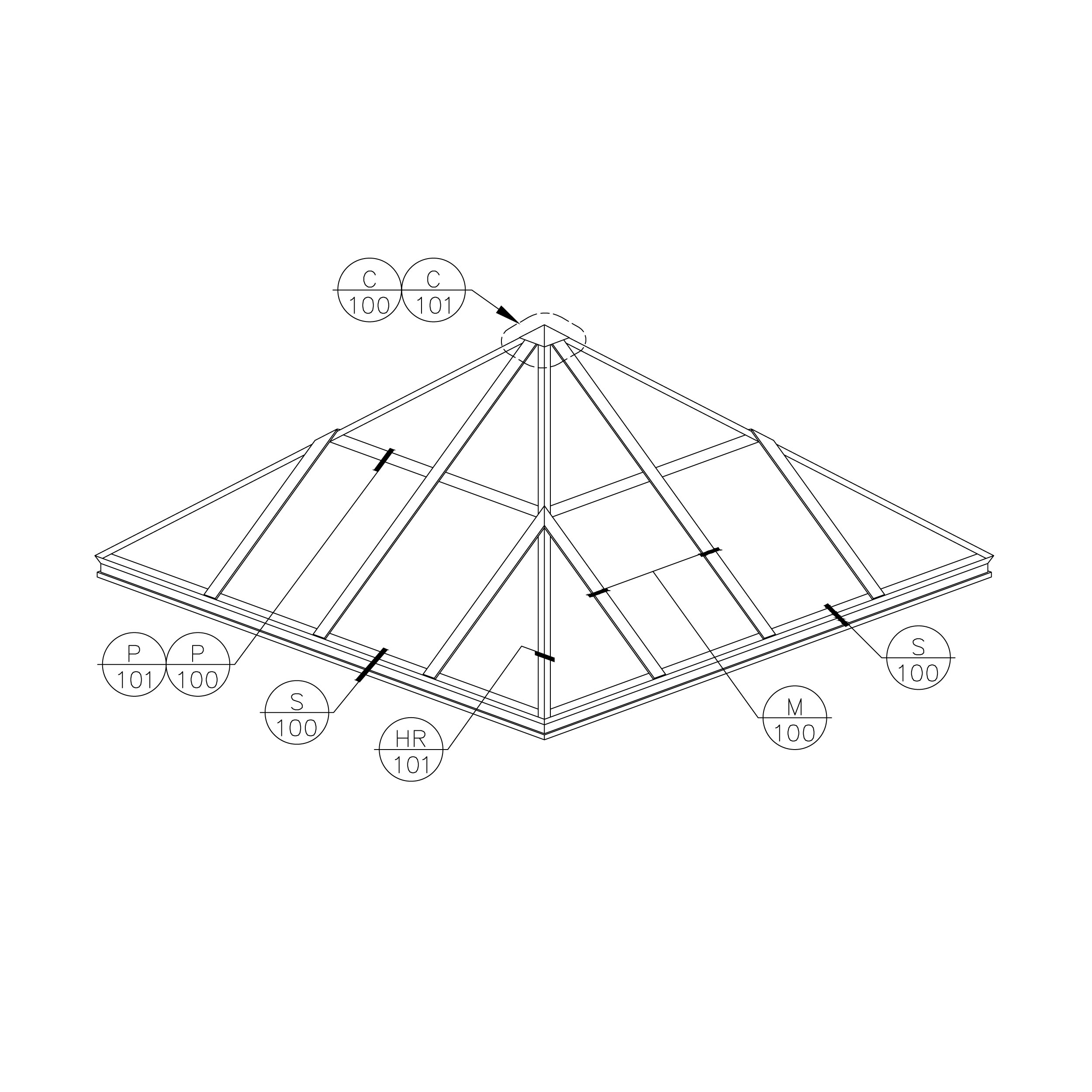 architectural-structural-pyramid-skylight-frame-isometric