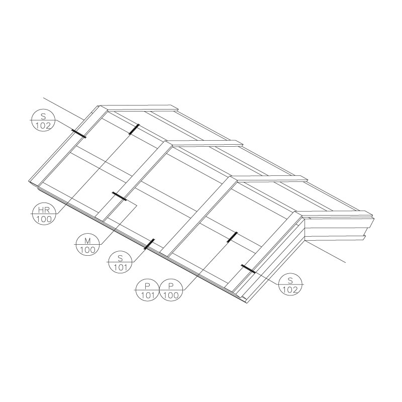 Architectural Ridge Skylight - Frame Isometric