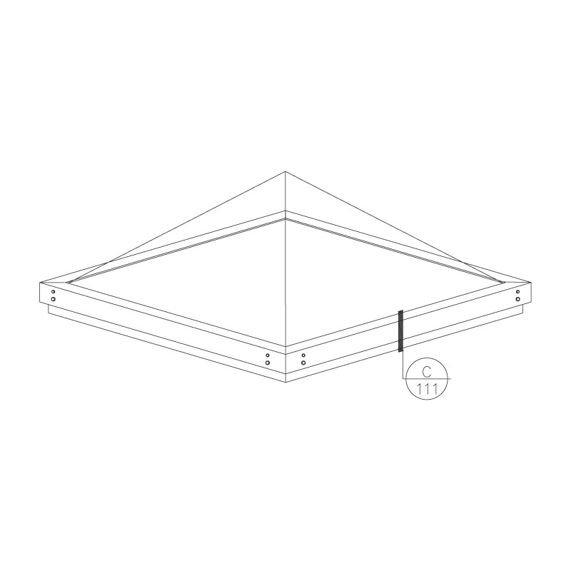 Curb Mount Formed Pyramid Skylight - Frame Isometric